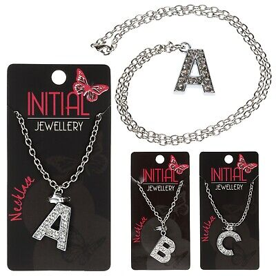 £3.99 • Buy Initial Letter Necklace Silver Colour Pendant Crystal Alphabet Personalised A-Z