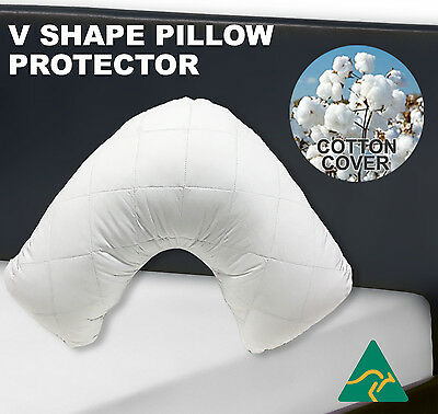 AU14 • Buy Aus Made V-Shape/Tri/Boomerang Pillow Protector-Zipped Quilted Cotton Cover