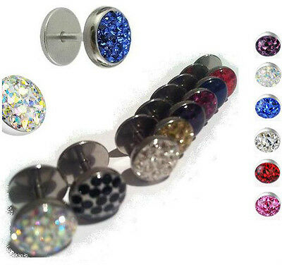 Large Round Crystal PAVED DOME EARRING Gems Fake Ear Plugs Taper Tunnel Gems  • 1.99£