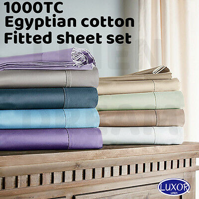 AU45 • Buy All Size 1000TC Egyptian Cotton Fitted Sheet Pillowcases Bed Set-NO FLAT SHEET