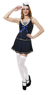 Sale Fancy Dress Costume Sexy Blue Sailor Girl Med 10-14 Navy Nautical With Hat • 9.95£