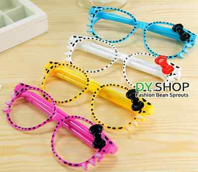 £2.25 • Buy Cool Kitty Bow Glasses Frame Pen Cute Stationary Kids Gift Party Loot Bag 2 Pens