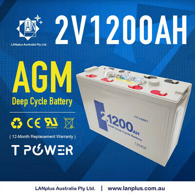 AU599 • Buy NEW 2V 1200AH Sealed AGM Deep Cycle Maintenance Free Solar Battery UPS Storage