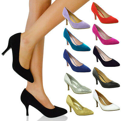 £16.99 • Buy Womens Ladies Low Mid Kitten Heel Pumps Pointed Toe Court Work Office Shoes Size