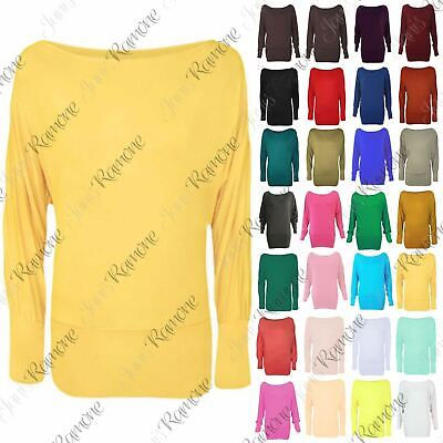 New Womens Ladies Batwing Long Sleeve Top Jumper Plus Size 8-18 On /Off Shoulder • 6.99£