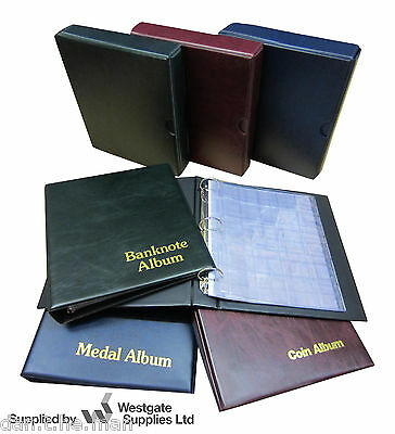 £16.08 • Buy Classic Coin / Medal / Banknote Album & Sleeves, Blue Red Or Green -add Slipcase