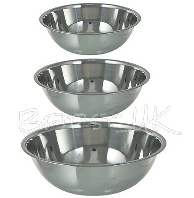 Small / Extra Large Stainless Steel Catering Washing Mixing Bowl Flat Base • 8.99£