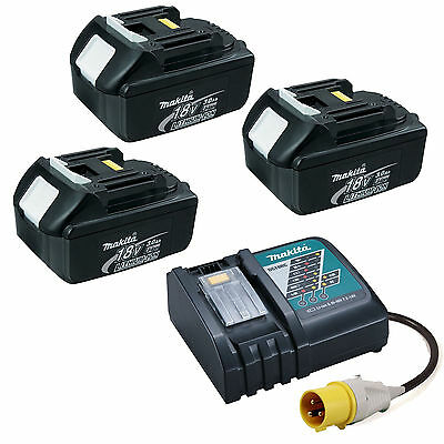 MAKITA LXT 110V DC18RC CHARGER WITH 3 X BL1830 BATTERIES • 347.99£