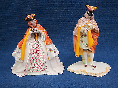 Pair Italian Ceramic M+F Venitian Carnivalesque Statues, Vry Gd Condition Signed • 578.87£