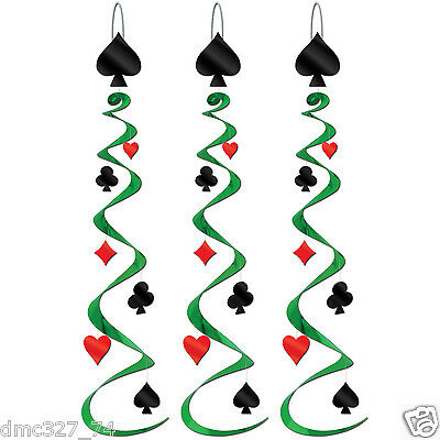$7.75 • Buy 3 Casino Poker Vegas CARD SUIT Party Decoration Hanging CARD WHIRLS Swirls