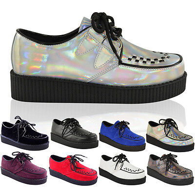 £19.99 • Buy Womens Ladies Flat Platform Wedge Lace Up Creepers Punk Goth Shoes Boots Size