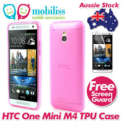 AU5.95 • Buy Pink Jelly TPU Gel ISkin Case Cover For HTC ONE Mini M4 Screen Protector