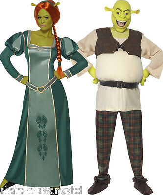 Couples Disney Fancy Dress Mens AND Shrek Ladies Fiona Book Day Costumes Outfits • 112.99£
