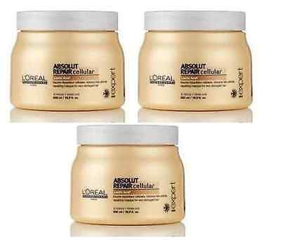 L'Oreal Professionnel Absolut Repair Cellular Masque For ++Damaged Hair 500ml X3 • 47.50£