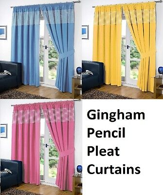 £10.95 • Buy CHILDRENS GINGHAM Thermal Blackout  Curtains PENCIL PLEAT + FREE TIE BACKS