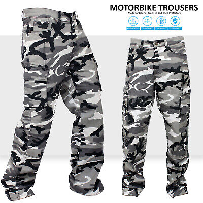 New Motorbike Motorcycle Urban Camo Cargo Trousers Jeans With Protective Lining • 35.99£