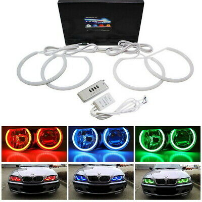 $59.99 • Buy Headlight RGB 7-Color LED Angel Eye Halo Rings Kit For BMW E39 E46 3 5 7 Series