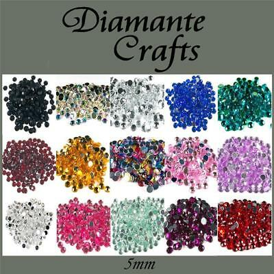 5mm Diamante Round Loose Flat Back Vajazzle Body Gems Choose From 18 Colours • 1.49£