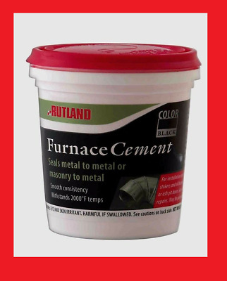 New! RUTLAND 1/2 Pt Chimney Sweep Furnace Cement To 2,000 Deg F Mortar Black 64A • 9.76£