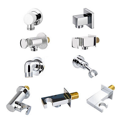 £11.99 • Buy Square Round Brass Wall Mounted Union Outlet Elbow Bracket Shower Handset Holder