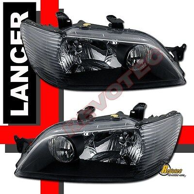 $127 • Buy 2002-2003 Mitsubishi Lancer LS ES OZ Black Headlights 1 Pair