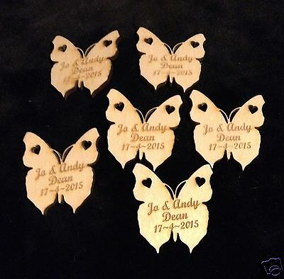 £3.95 • Buy  50 Or 100 Personalised Wooden Butterflies Table  Wedding Favours Natural Wood