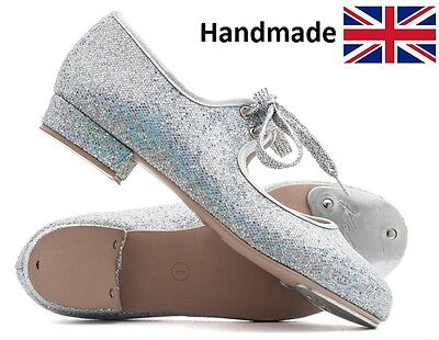 £18.50 • Buy Girls Ladies Silver Glitter Low Heel Tap Dance Shoes With Toe Plates By Katz