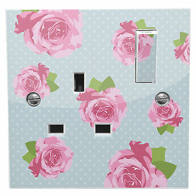Blue Shabby Chic Pink Roses Power Socket Sticker Vinyl Skin Cover Decal Floral • 1.99£