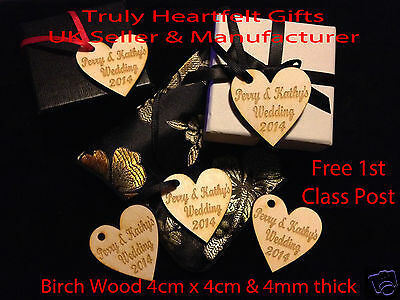 Personalised Engraved Wooden Hearts Present Hangers Wedding Table Decor Favours • 3.75£