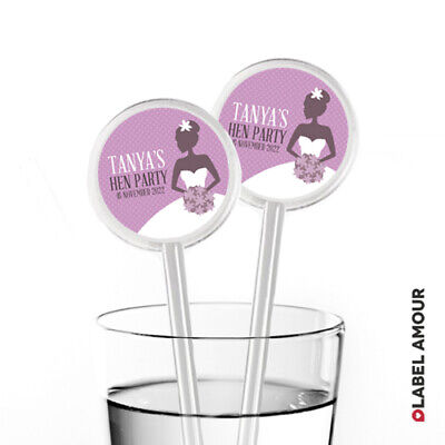 £1.70 • Buy PERSONALISED Hen Do Party Wedding Favour Cocktail Stirrers Pack Of 12   Lydia