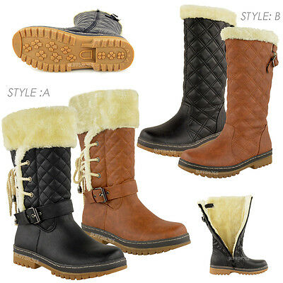Womens Ladies Flat Calf Knee High Quilted Fur Lined Winter Snow Boots Shoes Size • 23.99£