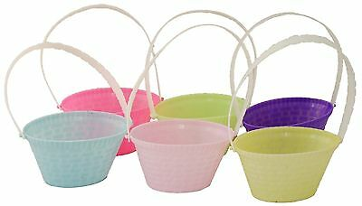 6 Mini Easter Egg Hunt Baskets With Handles 4  Buckets Decoration Craft School • 3.89£