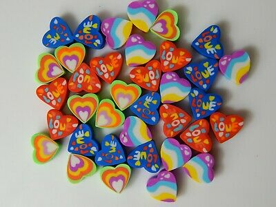 36 Mini Heart Shaped Erasers Rubbers Party Bag Treat Eraser Novelty *Very Small* • 2.99£