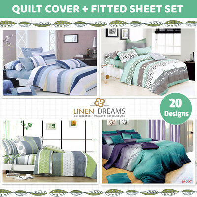 AU69 • Buy Queen/King Size Bed 4pc 100% Cotton Quilt / Duvet Cover+Fitted Sheet Set