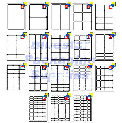 Address Labels White A4 Sheets Sticky Self Adhesive For Inkjet / Laser Printer • 7.85£