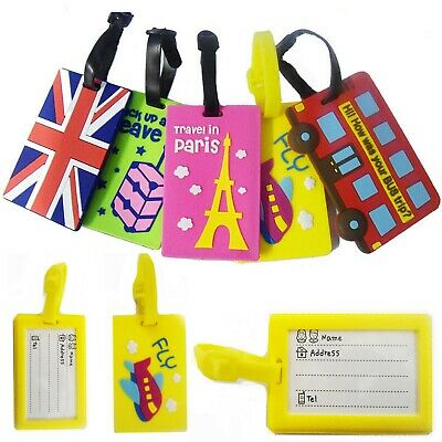 £2.99 • Buy Silicone Luggage Tag Reusable Suitcase Name Label ID Travel Identify Badge Showy