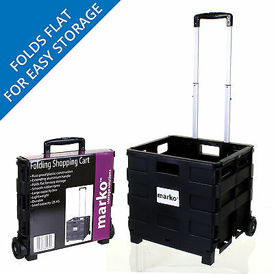 Heavy Duty Shopping Cart Plastic Crate Wheels Foldable Trolley Car Camping • 13.99£