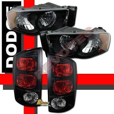 $143.95 • Buy 02-05 Dodge Ram 1500 2500 3500 Pickup Black Headlights + Tail Lights Dark Smoke