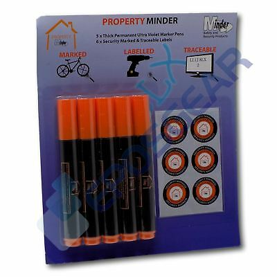 £5.90 • Buy 5 Thick 4mm Permanent Ultra Violet Security Property Marker Pen Invisible UV Ink