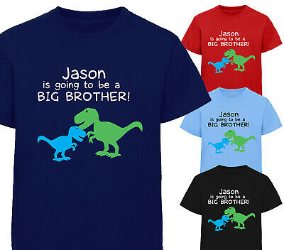 Personalised I'm Going To Be A Big Brother T-Shirt Dinosaur Tshirt Boys Kids • 8.99£