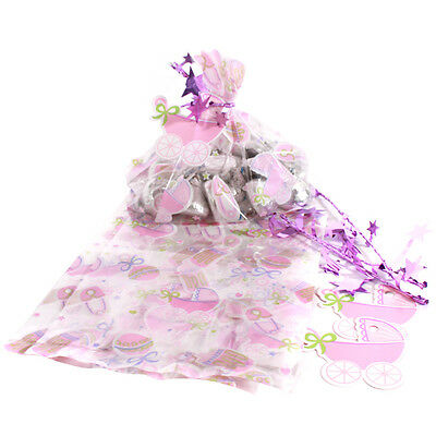 Baby Shower Pink Mini Cello Favor Bags Christening Naming Party For 24 Guests • 3.99£