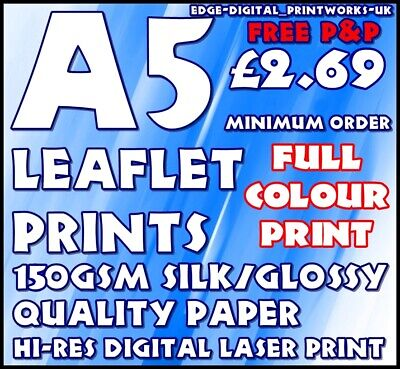 £12.99 • Buy Quality Gloss Paper Leaflet / Flyer Printing / Advertising 150gsm Gloss A5