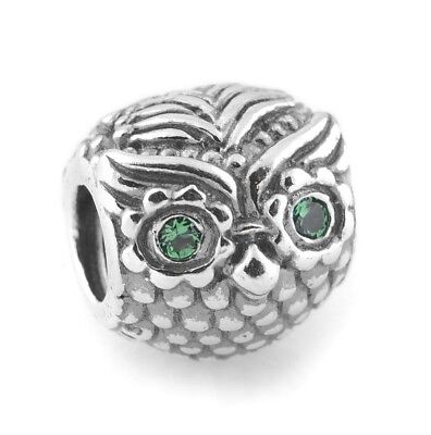 £9.85 • Buy Owl Charm Bead 925 Sterling Silver With Cubic Zirconia Stones