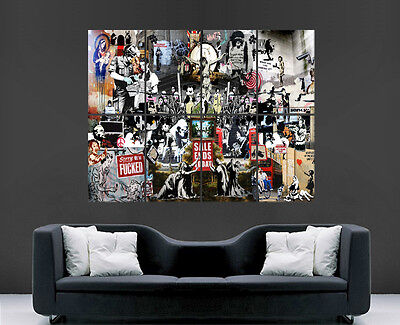 Banksy Poster Print Graffiti Street Art Collage Wall Large Image Giant Huge Graf • 17.99£