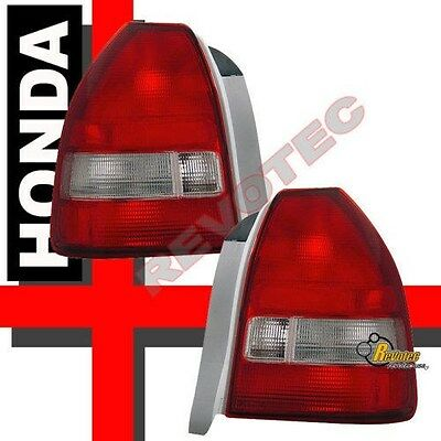 $82 • Buy Red Clear Tail Lights Lamps 1 Pair For 1996-2000 Honda Civic 3Dr Hatchback CX DX