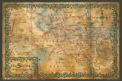 AU19.95 • Buy NEW The Hobbit Wall Poster - Antique Style Map Of The Shire 718