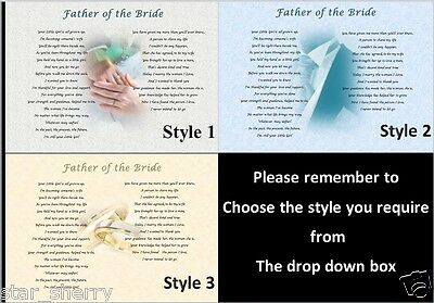 £3.69 • Buy FATHER OF THE BRIDE GIFT - 3 Styles  Personalised Poem From BRIDE & GROOM
