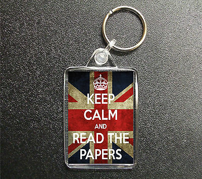 £2.85 • Buy Keep Calm And Read The Papers Keyring Union Jack Bag Tag Fob Gift