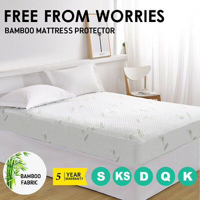 AU31.90 • Buy All Size Fully Fitted Bamboo Knitted Mattress Protector Topper Sheet Cover