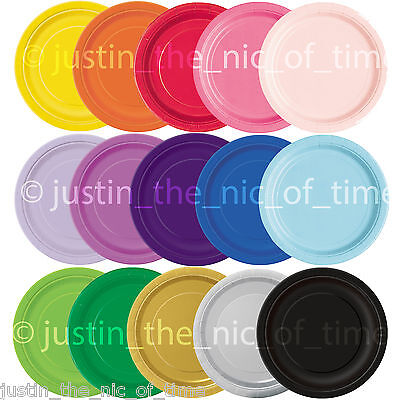 £2.95 • Buy ROUND Paper Party Plates 7  & 9  Plain Solid Colours Tableware Events Catering